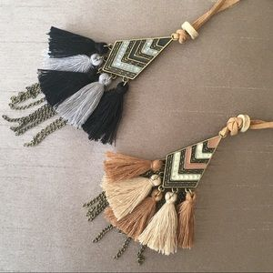 Jewelry - Antique Gold Multi Tassel Chain Leather Necklace